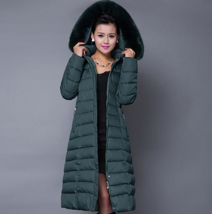 2014 Winter Long Thick Padded cotton Coat Middle-Aged Women'S Plus Size Fur Collar Hooded Duck cotton Coat Size XL-5XL H3293 winter women medium long middle aged fur collar hooded parkas thick warm plus size coat cotton padded chaquetas mujer tt3058