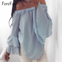 Forefair Casual Candy Color Blouse 2017 Women Summer Slash Neck Off Shoulder Tops Long Butterfly Sleeve