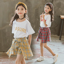 2019 Summer Casual Teenage Clothes For Girls Plaid Skirt + White T-shirt Clothing Set Kids Clothes Girls Japanese School Outfits цена и фото