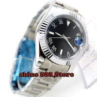 40mm Bliger schwarz sterile zifferblatt Münze lünette Sapphire automatische Bewegung herren uhr-in Mechanische Uhren aus Uhren bei