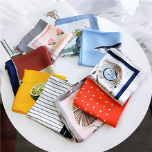 2019 Women Brand Fashion Square Scarf Shawl Print Soft Wrap Handkerchief Satin Head Neck Hair Tie Band Female 70*70cm
