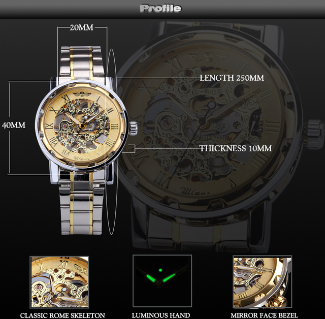 Skeleton Mechanical Stainless Steel Watch