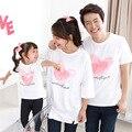 Familia Estilo Juego de la Familia Camisetas de Algodón de Impresión Camisas de Moda Más El Tamaño de La Madre de la Hija de Ropa Estilo de Verano Camisetas