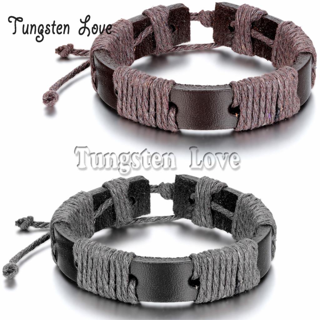 Rock Mens leather Bracelets Tribal Style Wholesale 2015 Braided Rope Bracelets pulseira de couro Black / Brown colors Adjustable