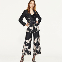 2017 New Fashion Vintage Crane Printing Belt In The Long Suit Thin Coat Women Long Sleeve