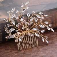 Handgemachte Kristall Perlen Blatt Haar Kamm Schmuck Kopfstück Braut Noiva Tiaras Braut Haar Schmuck Frauen Hochzeit Zubehör SL