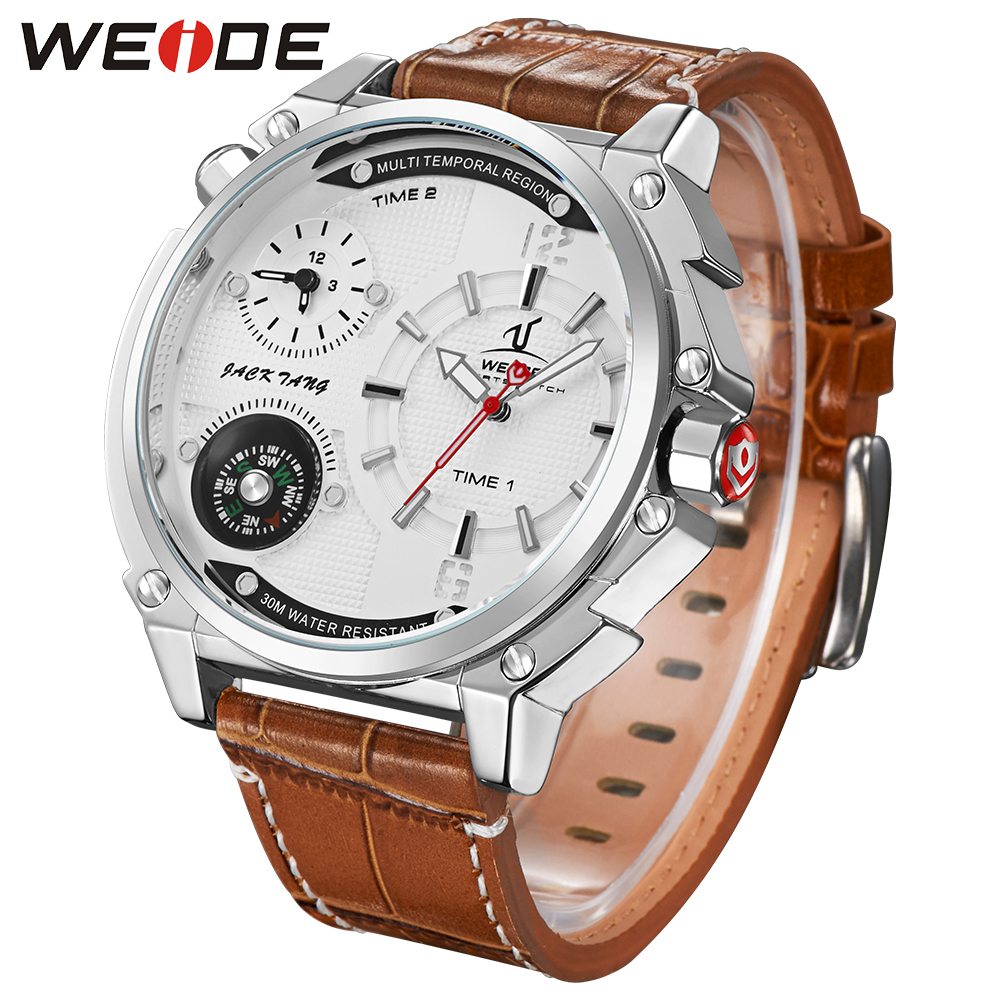 WEIDE New Brand Relogio Masculino  Waterproof Compass Watch Mens Analog Display Genuine Leather Strap Military Wristwatch clock brand weide fashion casual men watch black silicone strap 3atm waterproof dual display wristwatch relogio masculino sale items
