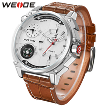 цены WEIDE New Brand Relogio Masculino  Waterproof Compass Watch Mens Analog Display Genuine Leather Strap Military Wristwatch clock