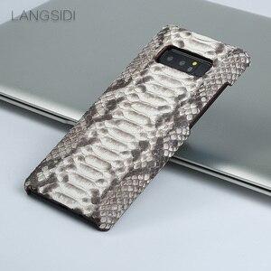 Image 5 - Wangcangli Para Samsung Galaxy S8 caso artesanal de luxo caso capa de Couro Genuíno caso de telefone de pele python verdadeiro