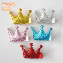 Glitter Felt Crown Hair Clips for Baby Girls Wholesale 50pcs/lot Bestseller Mini Size Princess Barrettes Baby Silver Hairpin