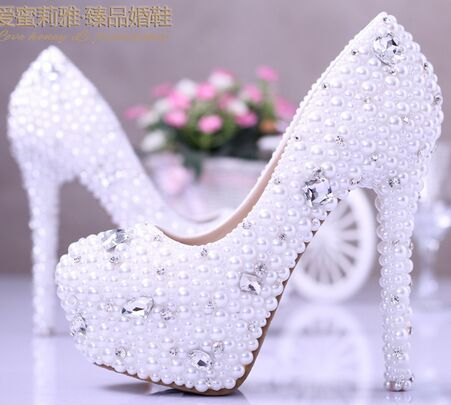 14cm Marriage shoes White Pearl Rhinestone bride high heeled shoes waterproof shallow mouth dress shoes  wedding shoes un arranged marriage