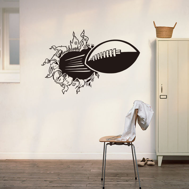 3D Rugby Football Through the wall sticker for kids room living room sports home decoration mural wall stickers decals wallpaper