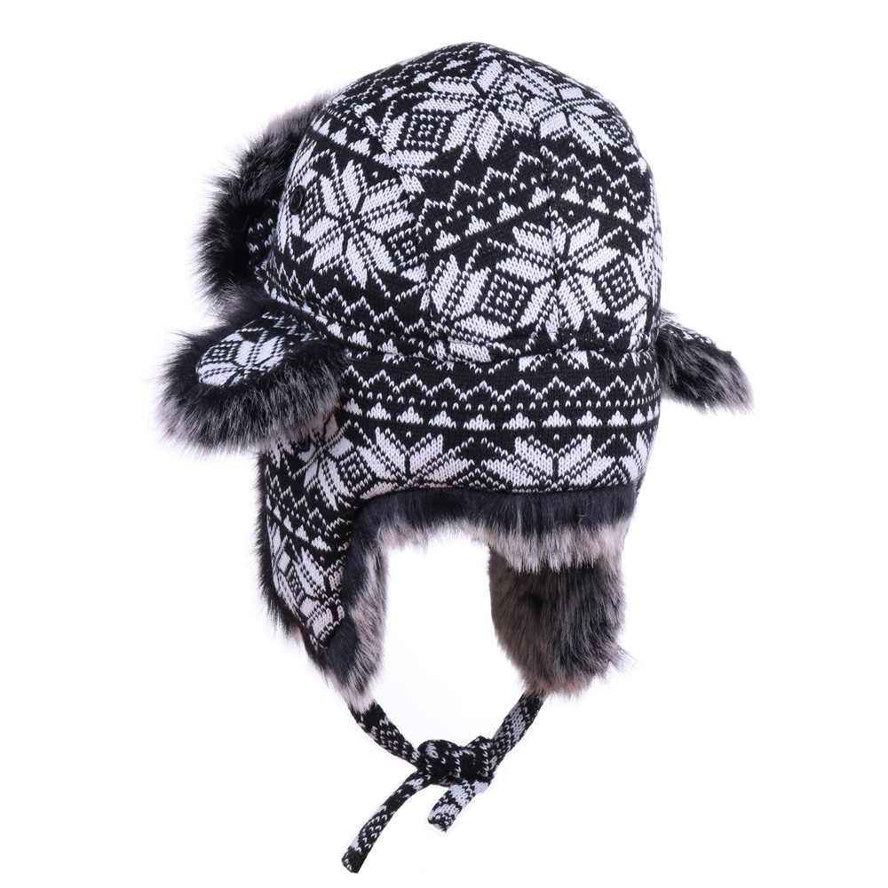 c8f904b3f Men Women's Bomber Hats Black White Wool Knitting Snowflakes Thick Trapper  Hat Faux Fox Fur Winter Russian Ushanka