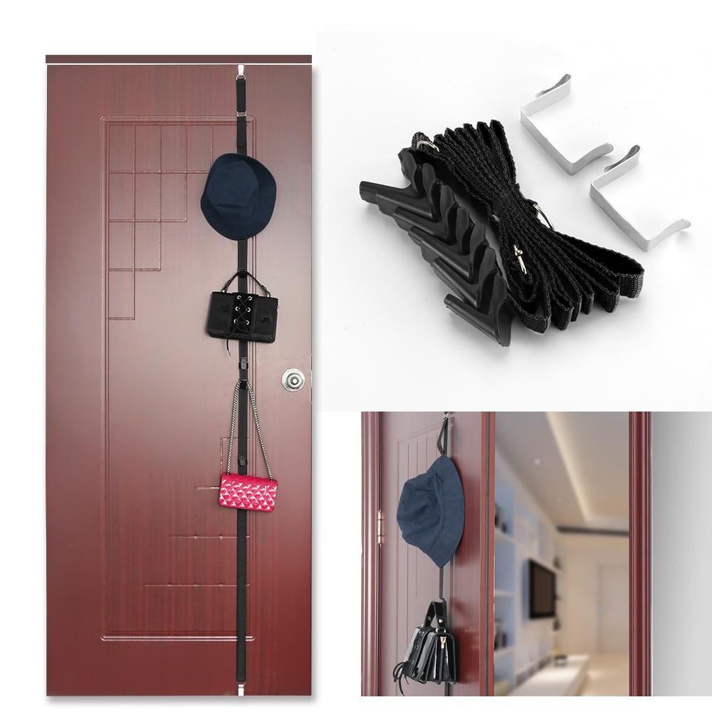 Black Hanging Rope Behind The Door Hat Clothes Rack Organizer Adjustable 7 Hooks