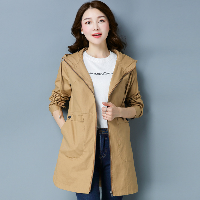 Spring Hooded Long   Trench   Coats Women 2018 New Fashion Long-sleeved Loose Large Size Windbreaker Female Outerwear Autumn A186