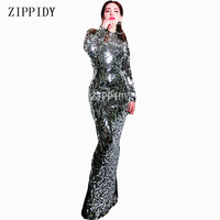 New Design Bright Full Mirrors Long Dress Women Evening Birthday Dresses Rhinestone Costume Prom Celebrate Grey Bling Dresses