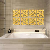 Hot 3D Acrylic Wall Sticker Removable DIY Square Gold Silver Mirror Stickers Living Room Home Decoration Accessories 1PC