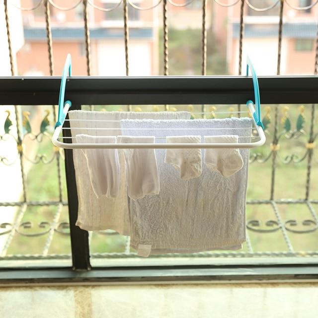 Folding Multi Purpose Clothes Hanger Balcony Bathroom Towel Rack Window Sill Small Air