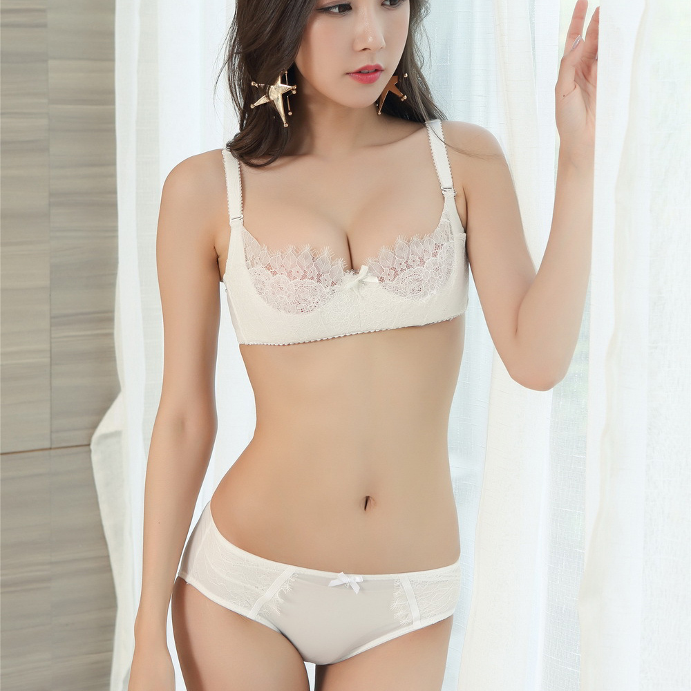 Elegant french lingerie promotion shop for promotional elegant french - Black White Ultrathin Cup Sexy Female Intimates Lash Lace Women Bra And Panty Sets Cotton Push Up Girl Underwear Clothing