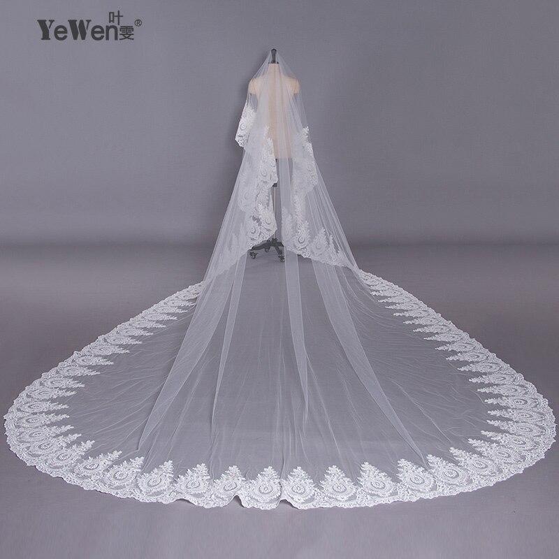 YeWen 5*3,5 метра чистый белый собор свадебная фата кружева длинные кружевные края Фата Свадебные аксессуары Свадебные вуаль