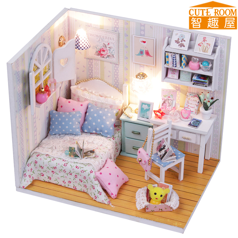 Assemble DIY Wooden House Toy Miniatura Doll Houses Miniature Dollhouse Toys With Furniture LED Lights Birthday Gift M013