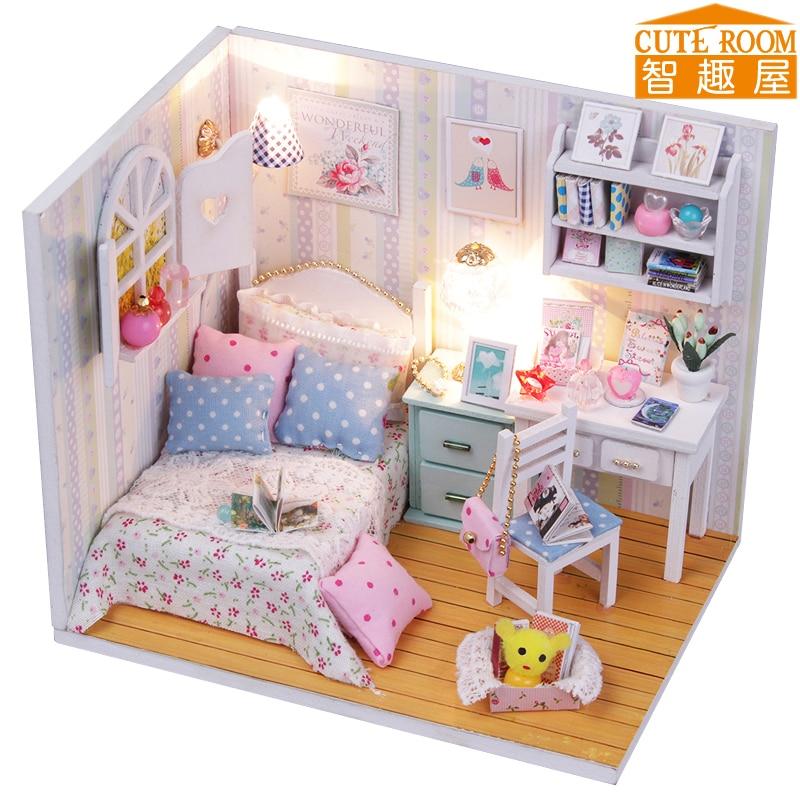 Sestavite si DIY lesene igrače, miniaturne lutke, miniaturne igrače za punčke s pohištvom LED luči rojstnodnevno darilo M013