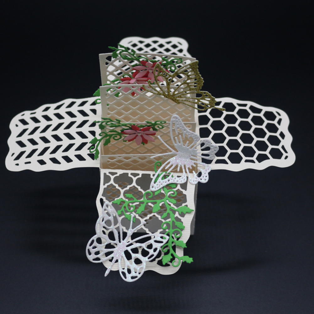 scrapbooking butterfly lattice love shape Metal steel cutting openwork animal Cube box shape Book photo album art card Die cut