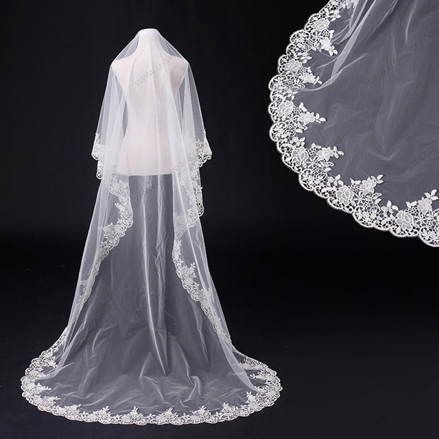 TS9128velo veu de noiva wedding veils long ivory birdcage veils ivory lace veil chapel veil veu de noiva longo voilette