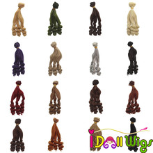 где купить Doll Accessories High Temperature Wire Brown Khaki Curly Hair Wefts Extensions for BJD/SD/Blyth/American Doll DIY Doll Hair по лучшей цене