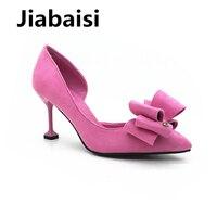 Jiabaisi женские туфли-лодочки, со стразами с острым носком кошки каблук туфли-лодочки без шнуровки полые внутри из женщин платье обувь