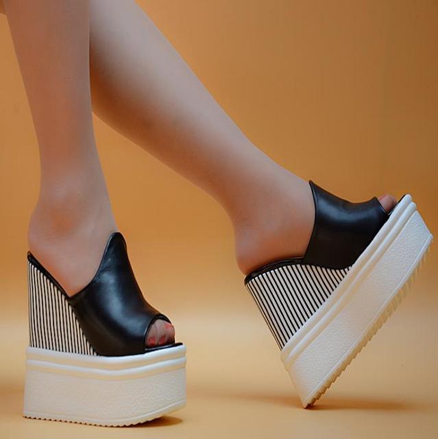 Super tacones pendiente con 14 cm nuevos 2018 de primavera y verano zapatos  de plataforma boca 5c7bff98ce64