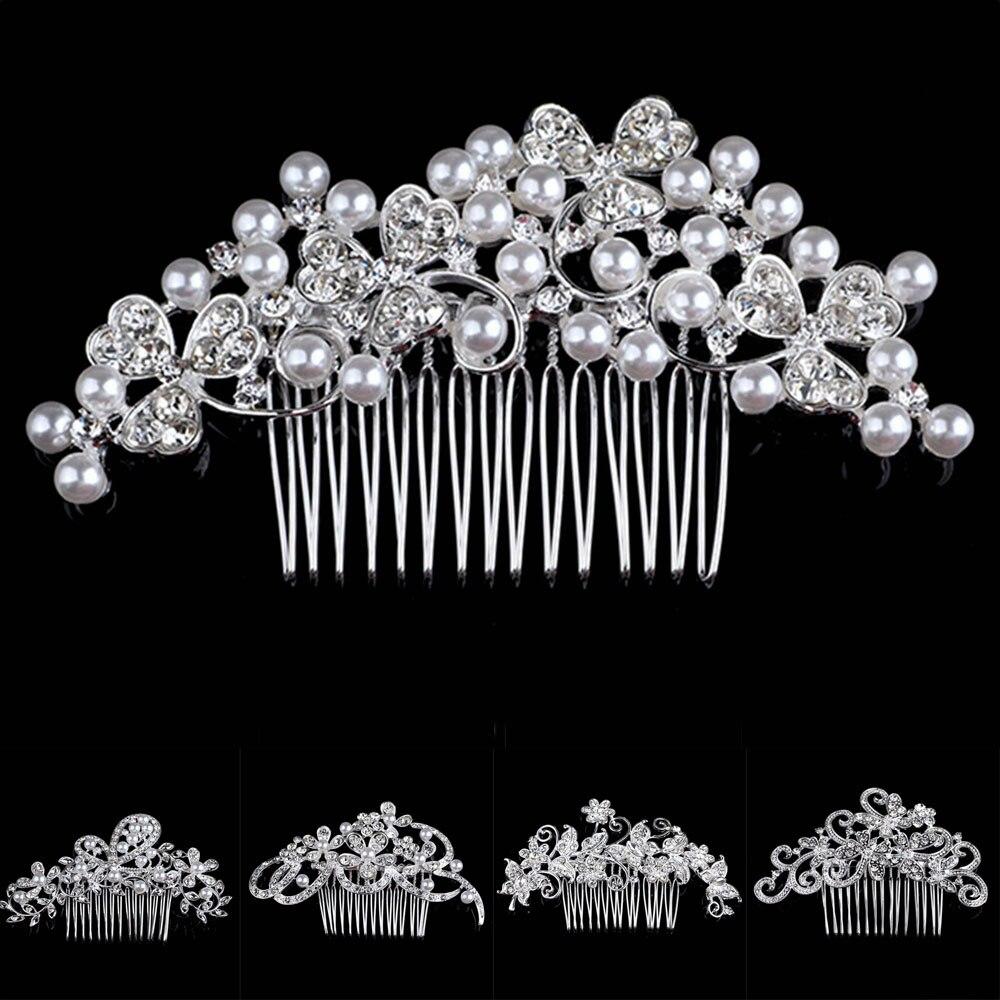 NEW Fashion Flower Crystal Rhinestone bride Hair Comb Clip  Pink