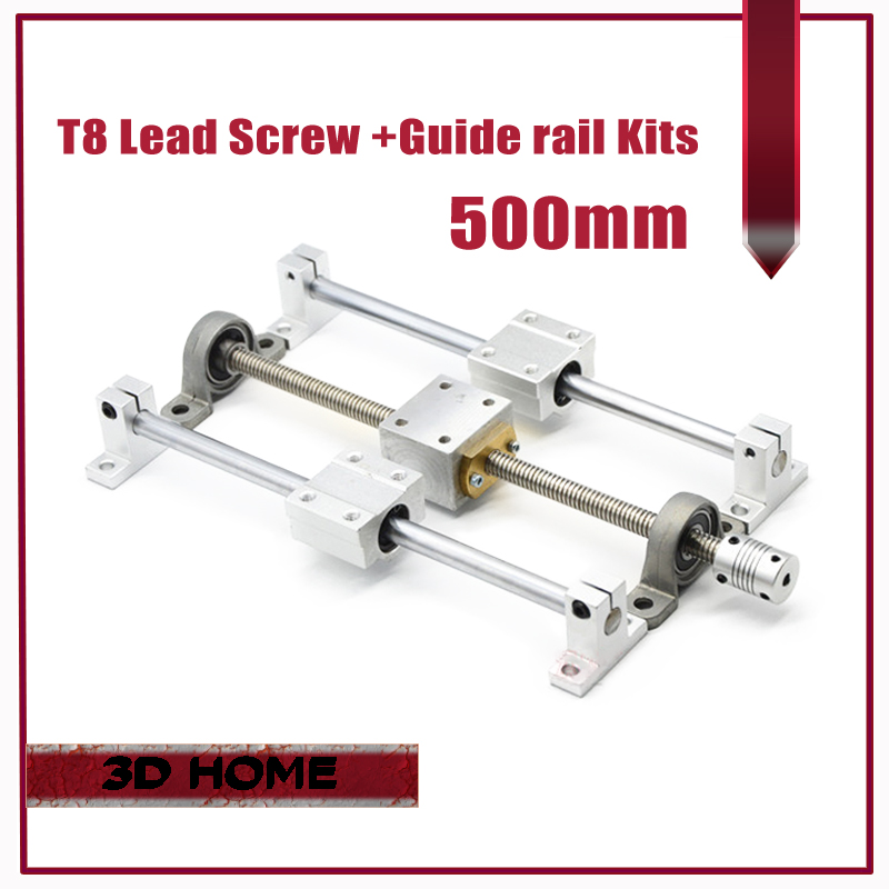 3D printer Guide rail parts -T8 Lead Screw 500mm + Optical axis 500mm+KP08 bearing bracket + screw nut housing mounting bracket roland sj 640 xj 640 l bearing rail block ssr15xw2ge 2560ly 21895161 printer parts