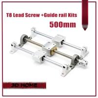 3D Printer Guide Rail Parts T8 Lead Screw 500mm Optical Axis 500mm KP08 Bearing Bracket Screw