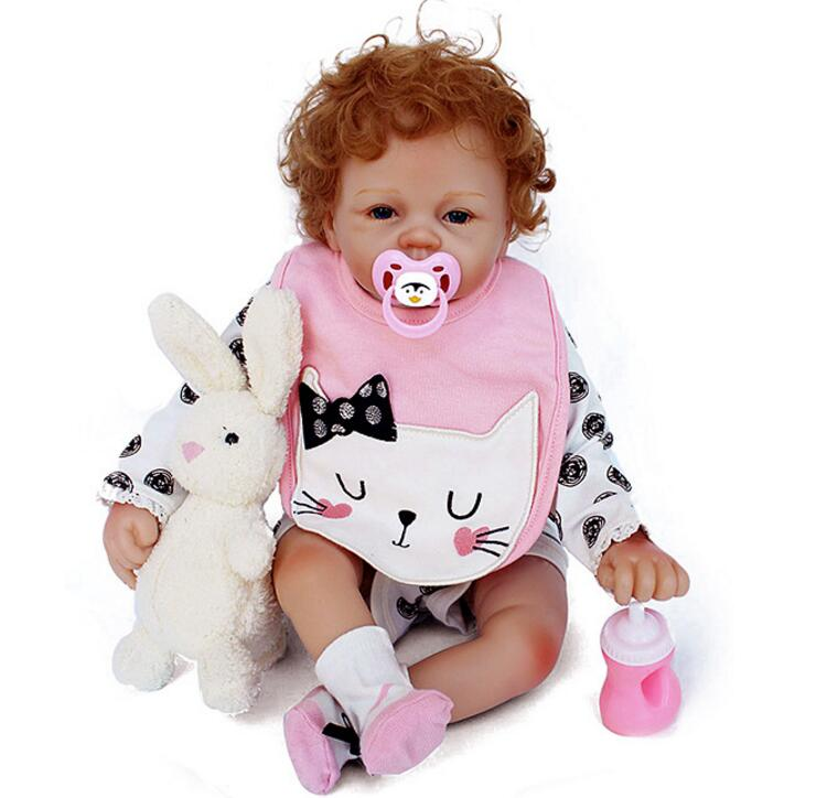 silicone reborn baby doll 22 inches girl 55cm Fashion Soft Cloth Body toddler Doll For Girls new Lifelike Bonecas