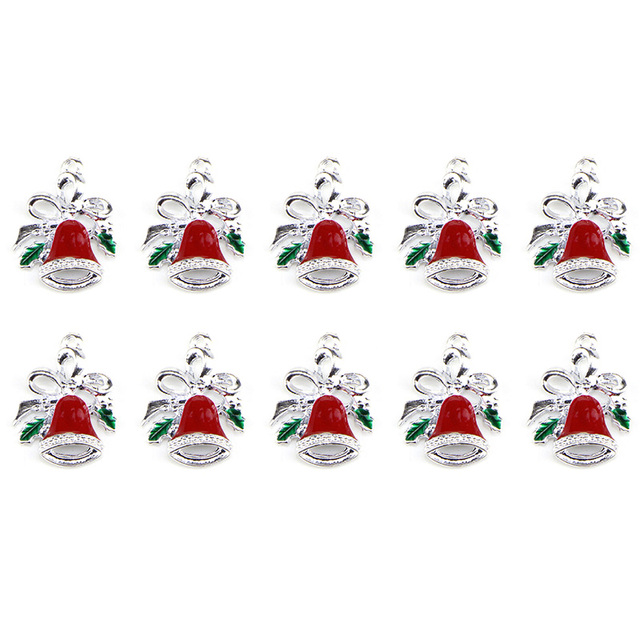 1pc christmas charms dripped oil bow knot bell enamel charms for jewelry making floating charm bracelet - Christmas Charms