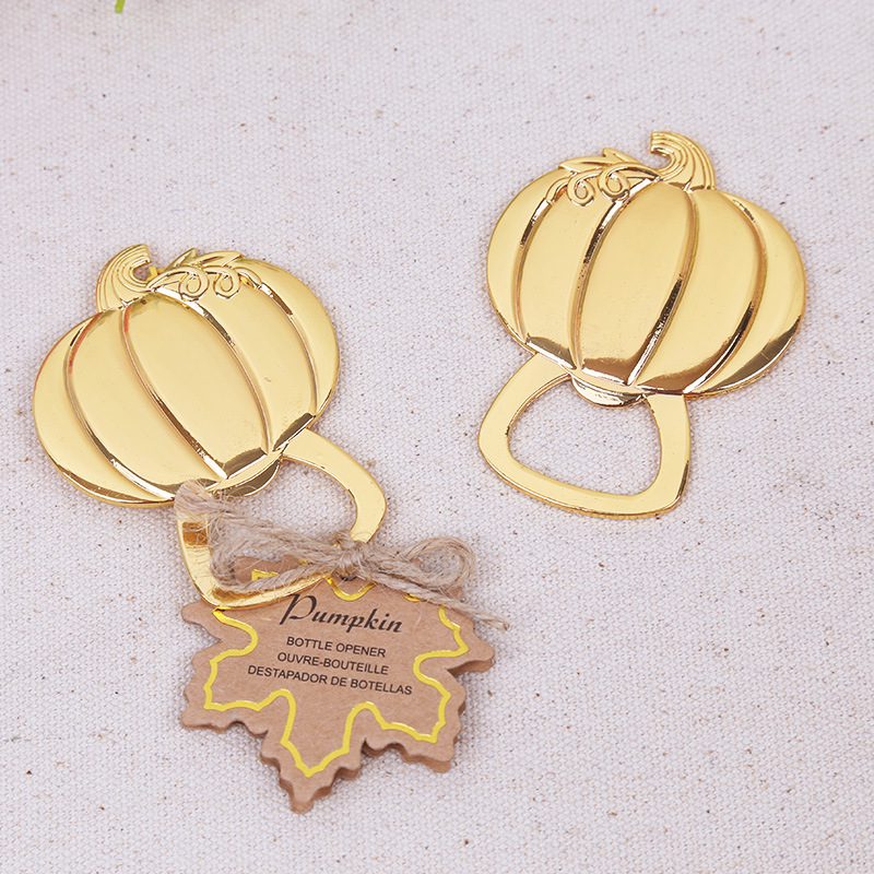 Free shipping 100pcs golden wedding favors gold pumpkin wine bottle free shipping 100pcs golden wedding favors gold pumpkin wine bottle opener beer openers party decoration accessories in party favors from home garden on junglespirit Images