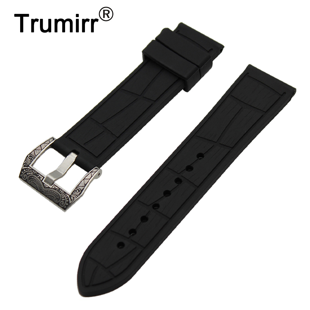 24mm Silicone Rubber Watch Band + Tool for Suunto TRAVERSE Stainless Steel Carved Pre-v Buckle Strap Wrist Belt Bracelet Black 24mm nylon watchband for suunto traverse watch band zulu strap fabric wrist belt bracelet black blue brown tool spring bars