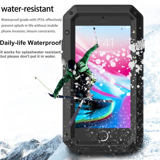 Heavy Duty Protection Doom armor Metal Aluminum phone Case for iPhone 6 6S 7 8 Plus X 4 4S 5S SE 5C Shockproof Dustproof Cove