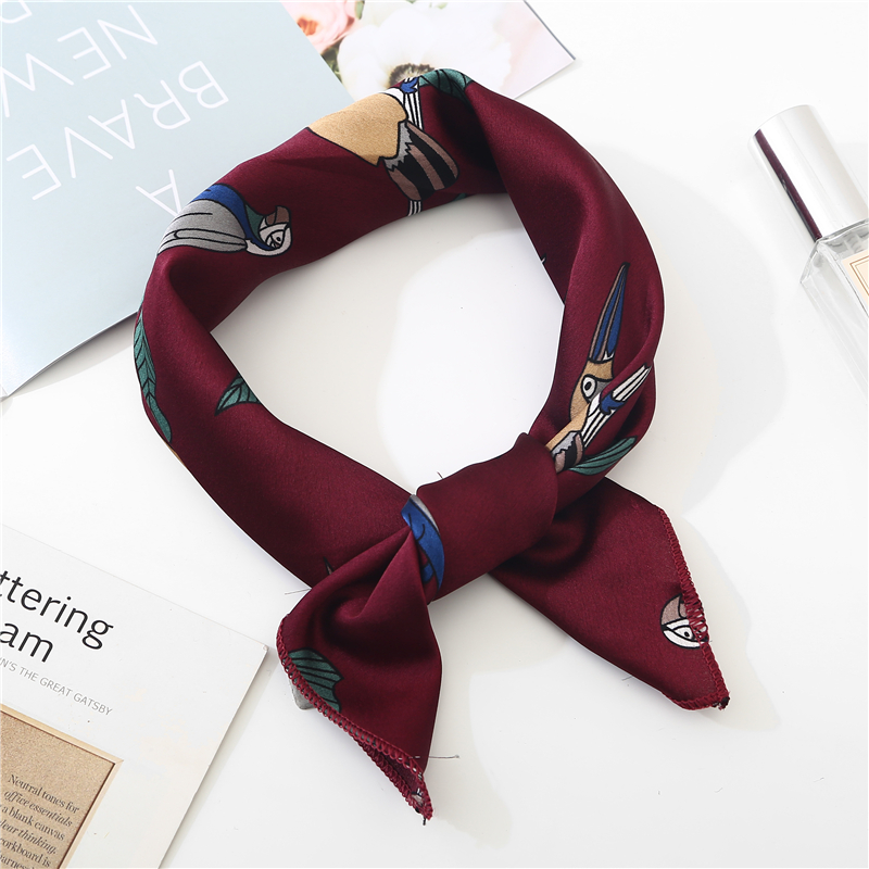 New Summer Luxury Brand Silk Square   Scarf   Women Shawls   Wraps   Fashion Print Flower Bird Office Small Hair Neck hijabs foulard