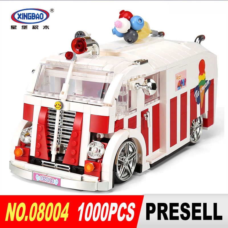 XINGBAO 08004 1000PSC Creator Camper Van Model Building Kits Bricks Toys Compatible Gifts For kids toy new lepin 20054 4237pcs creator camper van model building kits bricks toys compatible gifts 10220