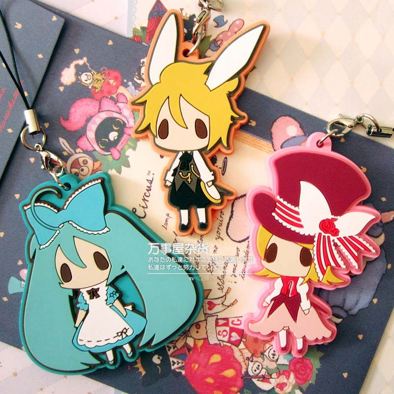 Miku Rin Len Anime Happy-kuji Alice Series VOCALOID 2 Rubber Keychain free shipping vocaloid hatsume miku short green anime cosplay wig 2 x ponytails