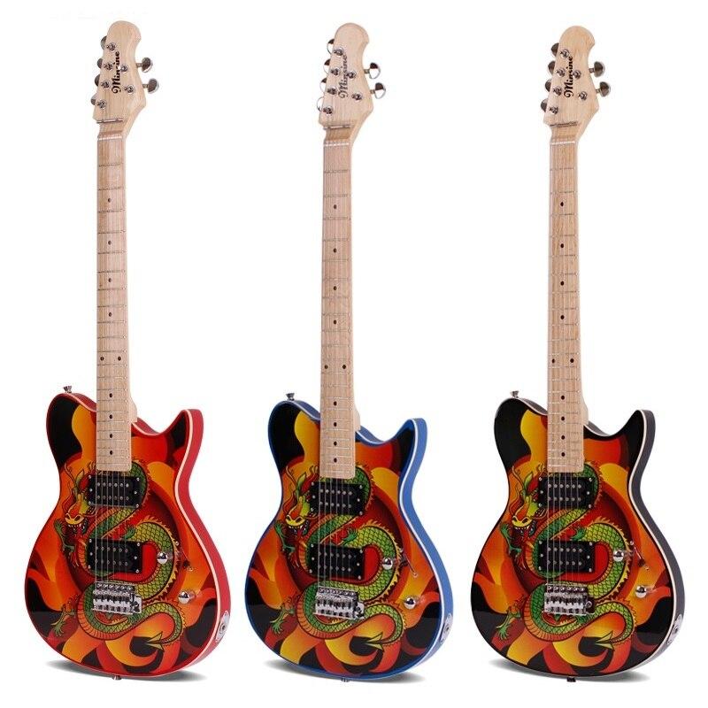 Tige unique secousse LP dragon motif guitare électrique professionnelle débutant trou sonore jack couleur personnalité guitare électrique