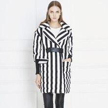 Мода Черный Белой Полосой женщин Пуховик Осень Зима Пальто Женщин Половина Рукава Пояса Большой Размер Куртка Женская UV1228