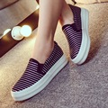 2016 New Fashion Wholesales Women Casual Canvas Shoes Breathable Stripe Slipon Flats Women Driving Shoes Zapatos Mujer