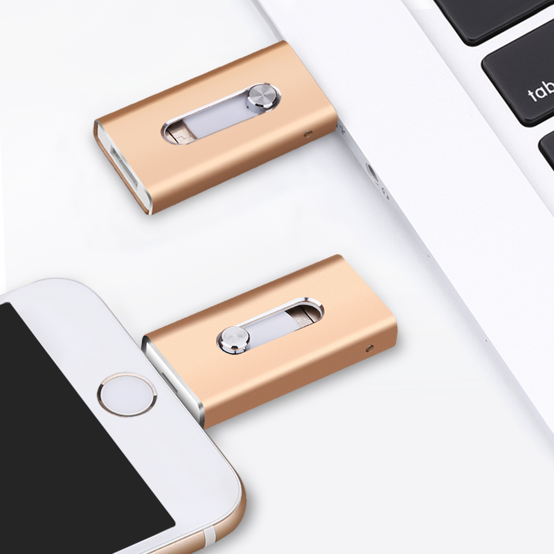BRU OTG USB Flash Drive 8GB16G32G64G128G For iPhone 5S/6/6S/7plus/8X iPad Android Multi-Functional PenDrive Stick Custom Logo