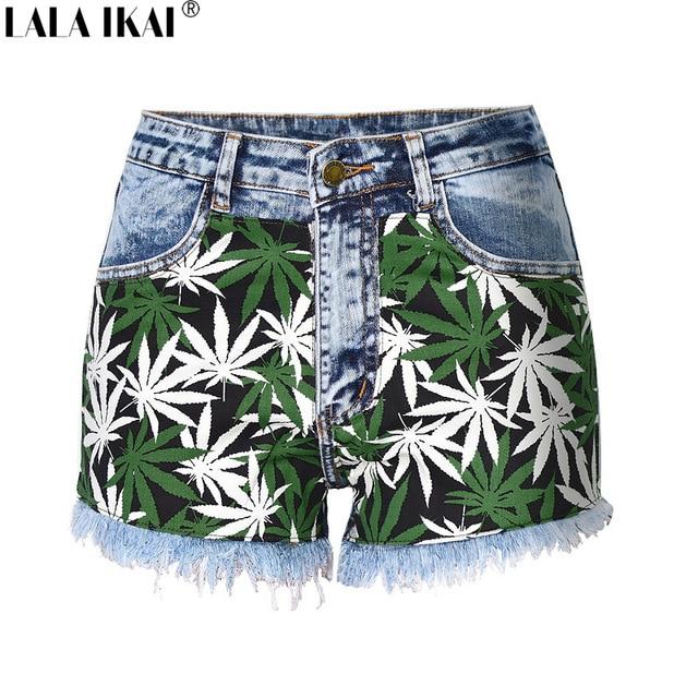 4631b5ad7349 LALA IKAI Women High Waist Denim Shorts Summer Sexy Ladies Shorts Vintage  Appliques Tassel Washed Jeans Short Femme KWC0090-5