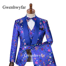 Men Suits Gwenhwyfar 3piece-Costume Tuxedo Groom Marriage Flower-Pattern Homme Party