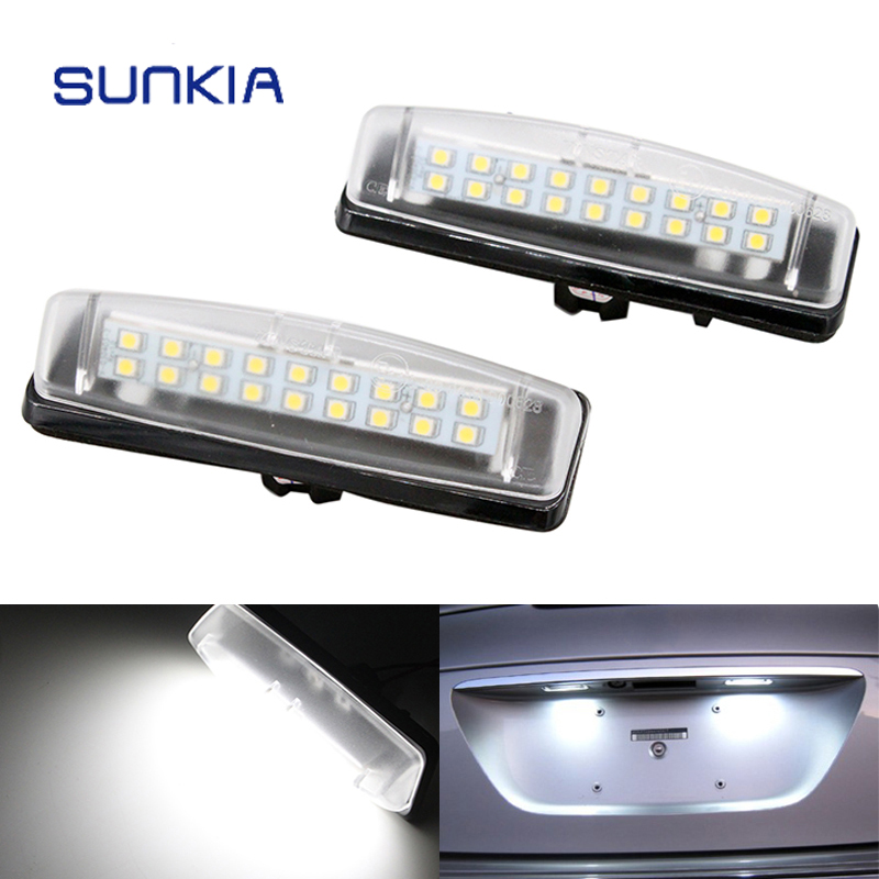 2Pcs/Set SUNKIA LED Number License Plate Lights Replacement For Mitsubishi Colt plus Grandis 18SMD Error Free Pure White Color 2pcs 18smd no error led number license plate light lamp oem direct fit for chevrolet cruze all cars 2009 canbus with decoder