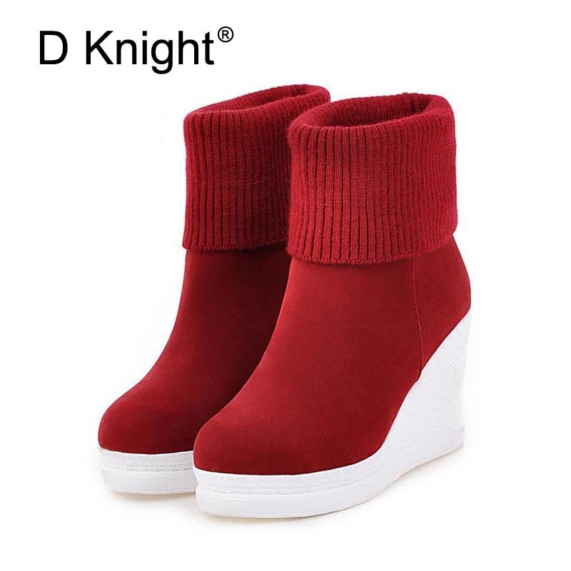 Women Platform Wedges Ankle Boots Fashion Round Toe Slip On Winter Boots Ladies Casual High Heels
